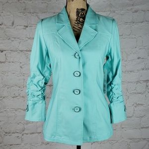 Tribal aqua blazer with ruched sleeves size 4 NWT